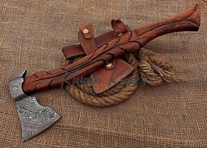 Hand Forged Damascus Steel Axe With high Quality wood Handle.Leather Cover.