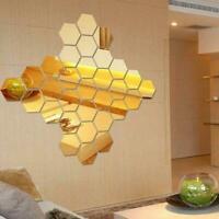 12Pcs Wall Stickers 3D Mirror Hexagon Vinyl Removable DIY Home Art Decal I0P2