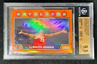2008 Topps Chrome LeBron James Orange Refractor #23 /499 True Gem Mint BGS 9.5