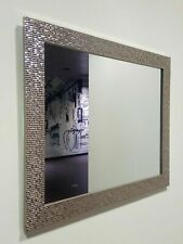 Large Mosaic Silver Mirror Bedroom Bathroom Hallway Hanging Wall Gift 59X49cm
