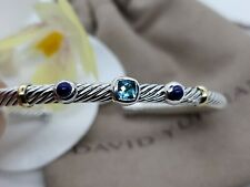 David yurman Renaissance Three Station Blue Topaz, Lapis &18K Gold bracelet sz M