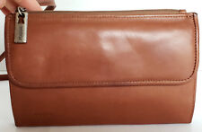 Vintage Fossil Leather Brown Slim Organizer Crossbody Shoulder Handbag Wallet