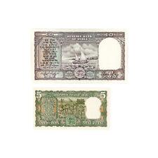 1 set of 2 diff. India 1960's-70 P-56a 5 Rupees, P-40b 10 Rupees Au-Unc-stpl.hls