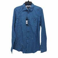 Diesel Mens Button Front S-Wingye Shirt Blue Geometric Slim Fit Pocket M New