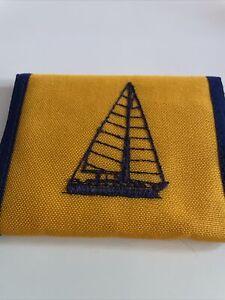 vintage wallet tri-fold nylon sailboat sunshine nos old stock yellow