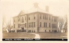 "Dysart Iowa~Shivering Students Ouside School~""Some Great Town Alright""~1913 RPPC"