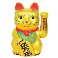 China Lucky Ondulado Oro Gato Figura Movimiento Brazo 17.8cm Neko Feng Shui GB