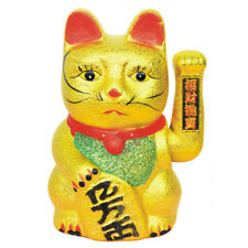 "Chinese Lucky Waving Gold Cat Ceramic Figure Moving Arm 7"" Maneki Neko Feng Shui"