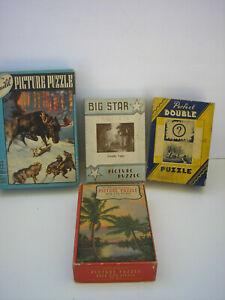 Vintage Jigsaw Puzzles (4) Big Star, Pefect Double, Guild, Masterpiece