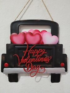 Valentines Day Black Metal Truck Red Pink Hearts Hanging Sign Door Home Decor