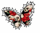 BUTTERFLY Ripped Torn Metal Design & Tattoo Gothic Skull Red Roses car sticker