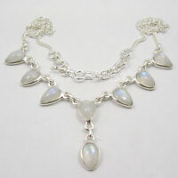"Solid Sterling Silver Blue Rainbow Moonstone Necklace 17.7"" Discount Jewelry"