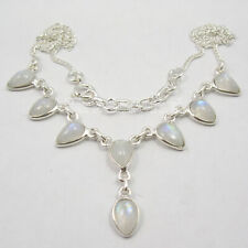 """Solid Sterling Silver Blue Rainbow Moonstone Necklace 17.7"""" Discount Jewelry"""