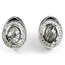 Ohrringe Rutilquarz & CZ 925 Silber 585 Weißgold