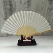 1Pc Exquisite White Chinese Silk Folding Fans Natural Bamboo Wood Handheld Fans