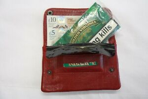 Leather Tobacco Pouch Organizer with Space for Money Cards Red with Pattern