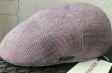 STETSON EUROPE LARGE 100% Linen DRIVER IVY CABBIE GOLF IRISH PINK BLUE L 59cm