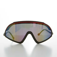 393c0aa430 80s Sports Shield Vintage Sunglass Mirror Lens and Red Stripe - Fidel