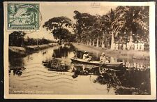 BRITISH GUIANA 1930 PPC -STAMP ON FRONT - TO BARBADOS - VF -
