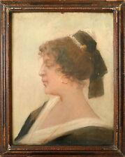 Arlésienne Peinture signée Henri BESSEDE vers 1885 Provence Arles félibre