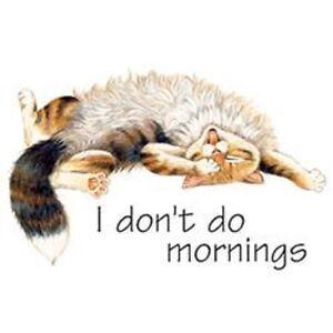 NEW  I Don't Do Mornings  Cat  Sweatshirt/Longsleeved tshirt  Sizes/Colors