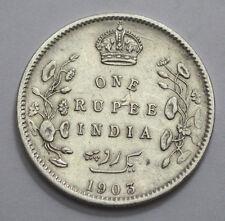 Rare 1903  5 Dots  BRITISH INDIA King Edward VII ONE RUPEE RARE SILVER COIN !