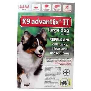 K9 ADVANTIX II FLEA & TICK FOR DOGS 21-55 LB 6 DOSES SHIPS FROM USA EPA APPR.