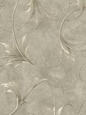 Wallpaper Designer Large Cream & Gray Taupe Leaf Scroll on Metallic Gray Faux