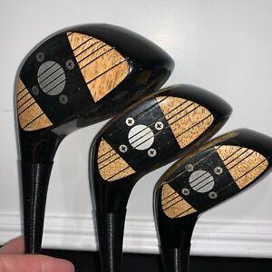 Limited Dunlop Seve Ballesteros persimmon wood set.  1/3/4. X100