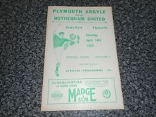 Plymouth Argyle V Rotherham United 1955/6 ~ APRILE 14th *** GRATIS ***