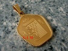 Feng Shui = Kalachakra Symbol with Hum Syllable Pendant (Gold Stainless Steel)