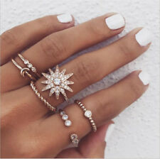 6Pcs/Set Retro Crystal Star Moon Midi Finger Knuckle Rings Boho Fashion Jewelry