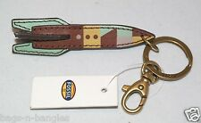 Fossil Keychain Key Ring Fob Leather Rocket Lemon Sour SL4844707 NWT