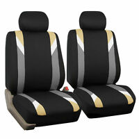 Front Car Seat Covers Beige Black Set for Auto Head Rests Two Bucket Seat Covers