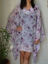D64 Kaftan Caftan Tunic Floral Casual Poncho Blouse Chiffon Batwing Top L XL 2XL