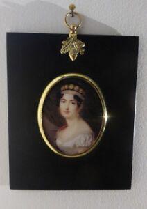Portrait Miniature of the Empress Josephine in an acorn hanger black frame