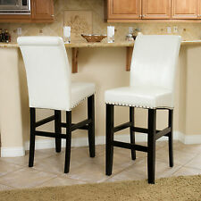 Set of 2 Dining Room Ivory Leather Bar Stools w/ Nailhead Accents