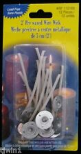"""2"""" Pre-Waxed Wire Wicks Sealed Package Of 12 Wicks For Candle Making! New!"""