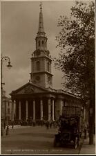 London UK Vintage Postcard ~ 1920/25 St. Martins in the fields Old Bus People