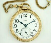 Elgin B.W Raymond 16 Size 21 Jewels Open Face Lever Set GF Pocket Watch w/Chain