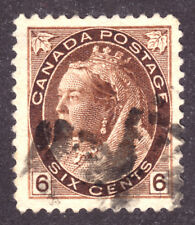 CANADA #80 6c BROWN, 1898 QV NUMERAL, VF, GRID