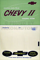 1963 Nova and Chevy II Owners Manual with Envelope 63 Chevrolet Owner Guide SS