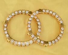 Party Wear Wedding Fashion Gold Plated Big CZ Bangles Kadas Indian Fashion Style