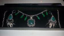 Peruvian Ethnic Green MALACHITE & ALPACA SILVER Necklace & Earrings SET*****