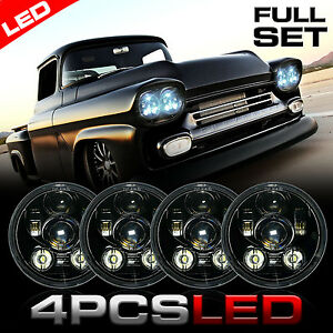 Four Classic LED Black Projector Housing Headlight Headlamp for GMC Chevy