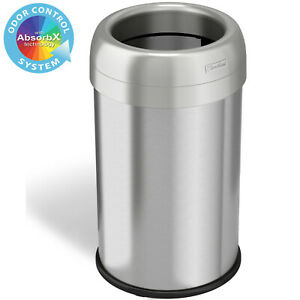13 Gallon Round Open Top Stainless Steel Recycle Trash Can Kitchen