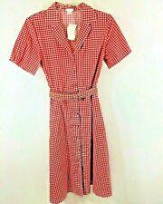 Vicky Wayne Sz 14 Retro Rockabilly Red White Picnic Check Flower Buttons Dress