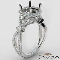 Cushion Halo Prong Set Diamond Engagement Ring Semi Mount 14k White Gold 0.65Ct