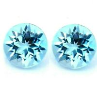 AMAZING NATURAL TOPAZ FLAWLESS BLUE PAIR! 7 x 7 mm.  ROUND CUT LOOSE GEMSTONES