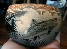 """Native American pottery signed Kevin Naranjo 2"""" x 3"""" Santa Clara Pueblo sgrafito"""